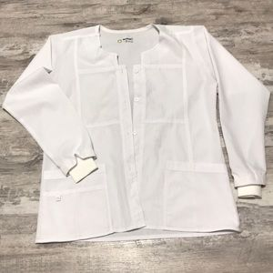 Size Large White stretchy scrub jacket by Wink 😉